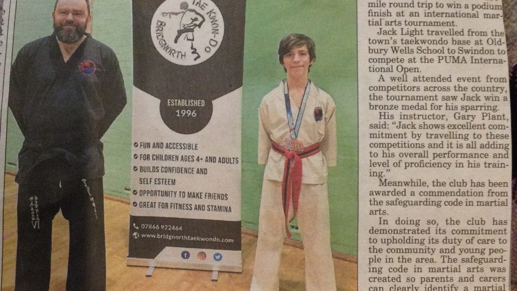 Bridgnorth Journal for Bridgnorth TKD's medal success and safeguarding code mark