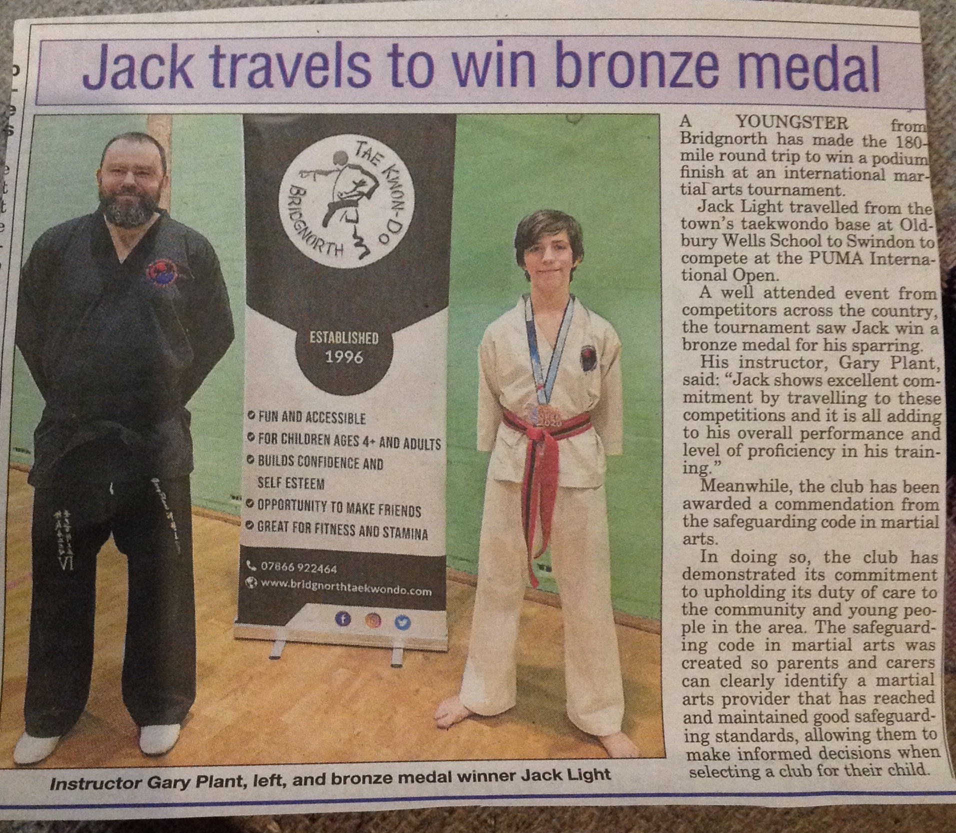 Bridgnorth Journal for Bridgnorth TKD's medal success and safeguarding code mark