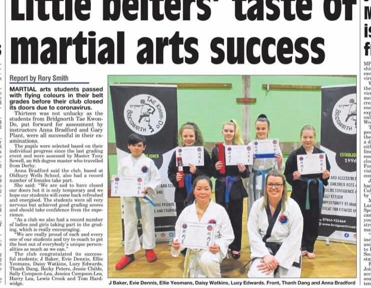 Martial arts promotions at Bridgnorth TKD