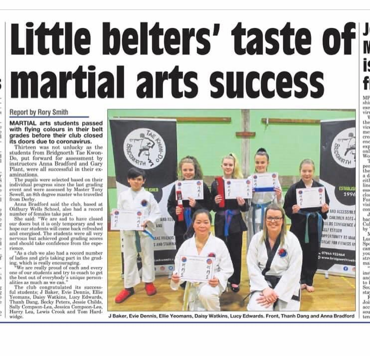 Martial arts promotions at Bridgnorth TKD